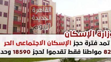وزارة الإسكان تمد فترة حجز الإسكان الاجتماعى الحر 824 مواطنا فقط تقدموا لحجز 18590 وحدة