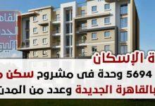 """أعلنت وزارة الإسكان عن طرح 5694 وحدة سكنية متبقية من المرحلة الثانية من مشروع """"سكن مصر"""" للإسكان المتوسط، لغير الموفقين بقرعات المرحلة الاولى و الثانية من المشروع، و أن الوحدات المتاحة بمساحات تتراوح من 106 متر إلى 118 متر. بشرط عدم سحب مقدم الحجز السابق سداده، مع إمكانية تعديل الرغبة و دفع فرق مقدم الحجز إن وجد، و ذلك بمدن القاهرة الجديدة - مدينة بدر - مدينة 6 أكتوبر - مدينة المنيا الجديدة - مدينة غرب قنا - مدينة ناصر غرب أسيوط لافتة إلى طرح الوحدات بنظام أسبقية الحجز الإلكترونى، و سيتم الإعلان عن الشروط و الاسعار على الموقع فى 6 يناير 2019."""