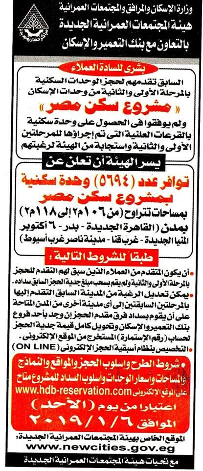 وزارة الإسكان تعلن عن طرح 5694 وحدة فى مشروح سكن مصر بالقاهرة الجديدة وعدد من المدن
